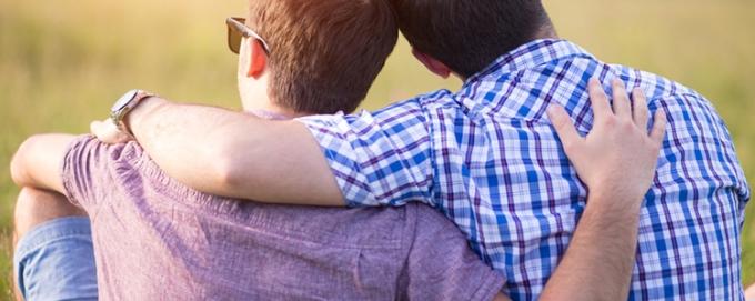 Gay couple enjoying summer